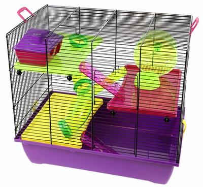 Interzoo hamsterkooi pinky 3 zwart / paars