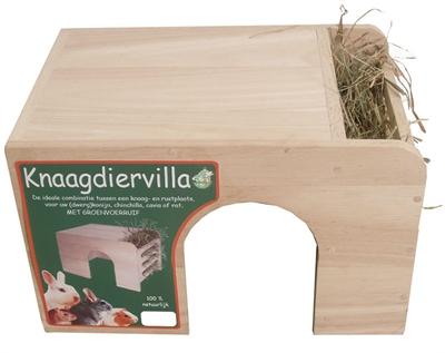 Knaagdiervilla hout met groenvoerruif