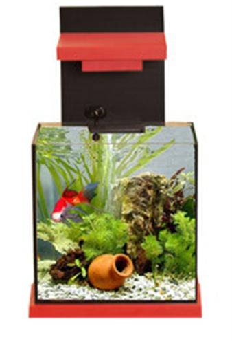 Adm aquacubic aquarium met filter zwart/rood