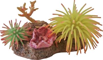2 siliconenbloemen met rots en schelp